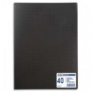 Protège-documents en polypropylène format A3, 40 vues noir,, couv. 3/10e, pochettes 6/100e - Elba