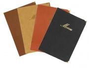 Protège menu de restaurant A4 - Format : A5-A4- Coloris : Noir - Bordeaux - Marron  - Beige
