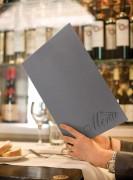 Protège menu gris intérieur velours - Avec double insert