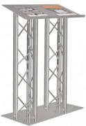 Pupitre de conférence double en aluminium - Pupitre double à structure triangulée 200 mm
