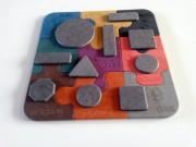 Puzzle bois enfant - Puzzle enfant bois multi couleur 19 pièces