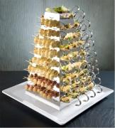 Pyramide de dégustation médium ou grand - Médium ou grand - plateau, cone, cuillère et pic en bois