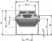 Rail à galets - Diamètre du rouleau ou du galet : 50 mm