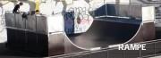 Rampe skatepark - Hauteur sol-balcon  de 1.65m à 3.75m - Largeur  4,50 et 6.50 m - Longueur  10,50m à 19.40m