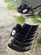 Râteau débroussaillage pour pelle chantier 15 à 30 tonnes - Montage sur axes balanciers ou attache rapide/coupleur