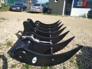 râteau forestier pour mini pelle chantier 0,8 à 9 tonnes - Montage axes, attache rapide, coupleur
