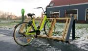 Râtelier vélo bois et acier - Dimension : 1800 x 500 x 790 mm