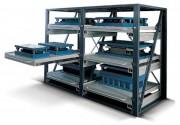 Rayonnage à plateaux-tiroirs - Charge admissible par tiroir : 1000 kg