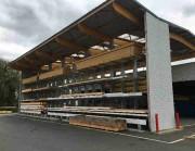 Rayonnage cantilever pour barres - Ensemble de stockage entièrement couvert Allées de circulation sèches