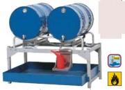 Rayonnage en acier pour 2 fûts de 200 litres - Construction mécano soudée robuste en acier