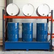 Rayonnage industriel pour stockage de fûts - Volume de rétention : 900 Litres