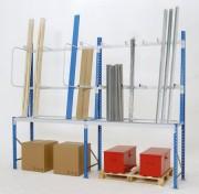 Rayonnage métallique industriel - Hauteurs : de 1000 à 8000 mm - Largeurs : de 1000 à 3250 mm