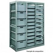 Rayonnage métallique pour bacs euronorme - Acier galvanisé - pour bacs euronorme 600 x 400 et 400 x 300 -