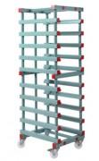 Rayonnage plastique mobile 10 niveaux - Dimensions extérieures (L x I x h) : 540 x 660 x 1780 mm