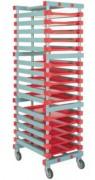 Rayonnage plastique mobile 15 niveaux - Dimensions extérieures (L x I x h) : 540 x 660 x 1830 mm