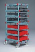Rayonnage plastique mobile - Dimensions extérieures (L x I x h) :  540 x 660 x 1830 mm