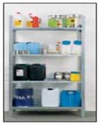 Rayonnage produits dangereux charge 130 Kg par étagère - Charge admissible par étagère : 130 kg