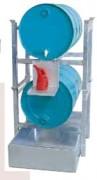 Rayonnage sécurisé pour 2 fûts de 200 litres - Dimensions L x P x H (mm) :env. 835 x 1240 x 1580