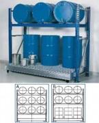 Rayonnage sécurisé pour 9 fûts de 200 litres - Volume de rétention de 400 l à 900 l