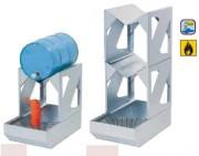 Rayonnage stockage 2 fûts 60 litres - Construction mécano soudée robuste en acier