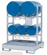 Rayonnage superposables pour produits dangereux - Capacité de stockage : 3 fûts de 60 litres et de 2 fûts de 200 litres