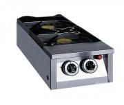 Réchaud avec 2 feux snack - Débit horaire : 0.71 kg/h (Gaz Propane) - 0.97 m3/h (Gaz naturel)