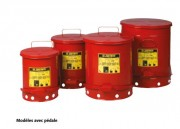 Récipient de sécurité à déchets en acier - Avec commande manuelle ou pédale -  Capacité : De 20 à 80 L