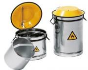 Récipient de sécurité en inox pour lavage et trempage - Dimensions  : Ø 270 x 270 - Ø 270 x 430  mm