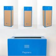 Box de recyclage carton et papier - Contenance : 60 litres, soit environ 15 kilos de papier / 3 000 feuilles