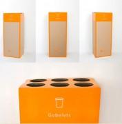 Recyclage gobelet plastique - Conteneur en tube empilé
