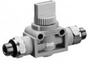 Régulateur de flux - Vanne d'arrêt 3/2 QR1-AGG