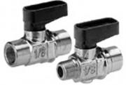 Régulateur de flux et de pression construction miniature - Vanne d'arrêt 2/2