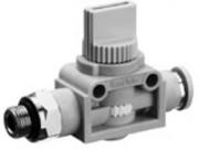 Régulateur de flux et de pression raccord instantané - Vanne d'arrêt 3/2 QR1-AGS