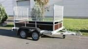 Remorque double essieux grillagée - PTAC : 750 kg
