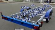 Remorque porte bateau Multi-rouleaux  - Remorque porte bateau à 2 essieux
