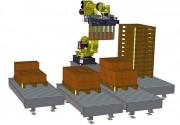 Robot de palettisation multi lignes