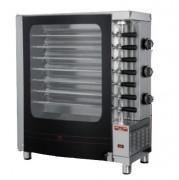 Rôtissoire 7 broches x 440 mm - Acier inox AISI 304 -  Electrique ou gaz - 690 x 380 x840 mm
