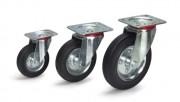Roues caoutchouc sans frein - Charge (kg) : 100 - 135 - 205