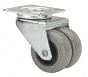 Roulette jumelée caoutchouc gris - Capacité charge : 80 kg