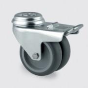 Roulette pivotante à blocage total suiveur - Roulette pour appareil 2977PJO075P30-12