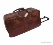 Sac de voyage cuir avec trolley - Poignée télescopique - Grand compartiment fermant par zip