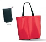Sac shopping pliable personnalisé - Sac pliable en nylon et polyester noir
