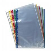 Sachet de 10 pochettes deux bords coloris assortis, polypropylène 9/100e, perforation 11 trous - Elba