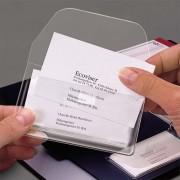Sachet de 10 porte-carte de visite avec rabat, adhésif repositionnable, format 60x105mm - 3L
