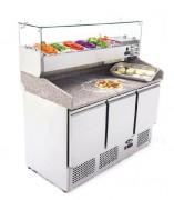 Saladette en inox à 3 portes - Température : De + 2 / + 8 °C - Capacité : 380 L