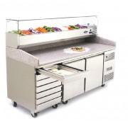 Saladette réfrigérée à 2 portes - Température : De - 2 / 8 °C - Capacité (L) : 580