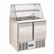 Saladette réfrigérée vitrée 2 & 3 portes - Froid positif -  0° à +8°C -2 & 3 portes GN1/1 - Puissance : 143 ou 230 W