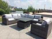 Salon de jardin en aluminium - Structure / Pied : Aluminium - Matière assise : Tissu