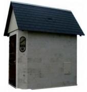 Sanitaire modulaire - Habillage pierre et bois