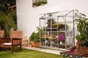Serre de jardin adossable 0.9m² - Dimensions extérieures hors tout (cm) : 129 x 71 x 165